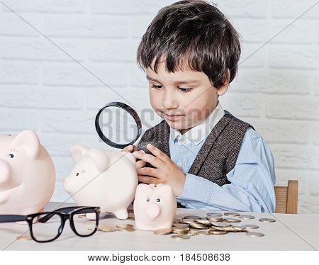 Boy With Pig Piggy Bank