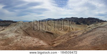 Landscape with hills and mountains in Death Valley National Park California. Panorama.