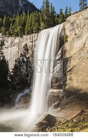 Beautiful Vernal Falls is located on Merced river. Yosemite National Park, California, USA. Long exposure