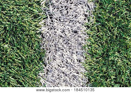 Artificial Green Grass With White Stripe Of Soccer Field
