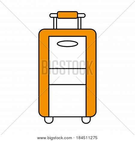 color silhouette image travel suitcase with handle vector illustration