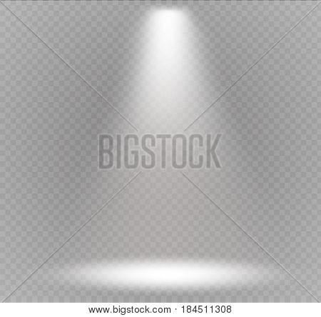 Vector spotlight. Light effect.Scene illumination, transparent effects on a plaid dark background. Bright lighting with spotlights.