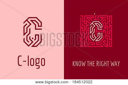 Creative logo for corporate identity of company: letter C. The logo symbolizes labyrinth, choice of right path, solutions. Suitable for consulting, financial, construction, road companies, quests, educational schools.