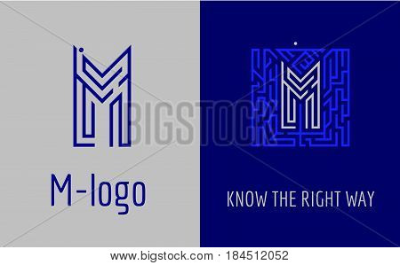 Creative logo for corporate identity of company: letter M. The logo symbolizes labyrinth, choice of right path, solutions. Suitable for consulting, financial, construction, road companies, quests, educational schools.