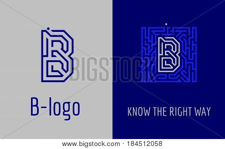 Creative logo for corporate identity of company: letter B. The logo symbolizes labyrinth, choice of right path, solutions. Suitable for consulting, financial, construction, road companies, quests, educational schools.