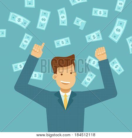 Happy Man Winning Money Lottery