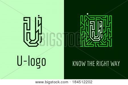 Creative logo for corporate identity of company: letter U. The logo symbolizes labyrinth, choice of right path, solutions. Suitable for consulting, financial, construction, road companies, quests, educational schools.