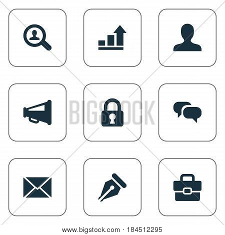 Vector Illustration Set Of Simple Job Icons. Elements Padlock, Inbox, Anonymous And Other Synonyms Magnifier, Anonymous And Chatting.