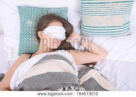 Woman Sleeping With Eye Mask.