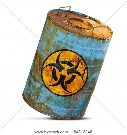 Chemical  Waste. Old Dirty Metal Barrel Isolated