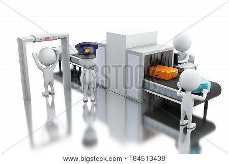 3d render illustration. White people whit custom scanner at the airport. Security concept. Isolated white background.
