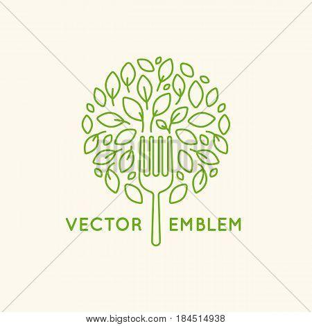 Vector Logo Design Template - Vegan Food Concept