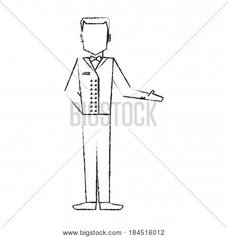 blurred silhouette full body faceless bellboy with uniform vector illustration