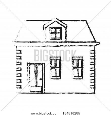 blurred silhouette facade house with two floors vector illustration