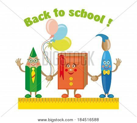 Back to School Title Poster Design in a Blackboard with School Items in a Background. Editable Vector Illustration
