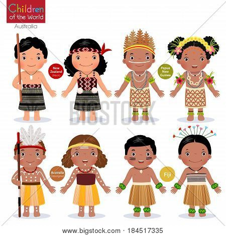 Kids in different traditional costumes. New Zealand Papua New Guinea Australia Fiji.