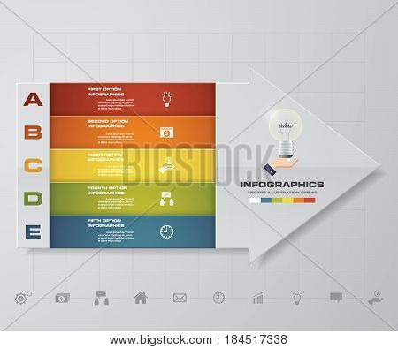Abstract 5 steps infographis with arrow shape elements.Vector illustration.