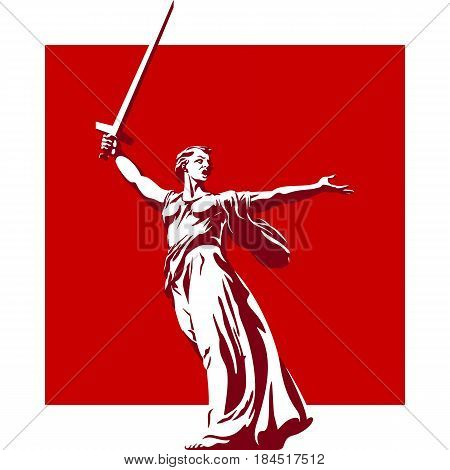 Sculpture Motherland calls. Symbol Volgograd. Russian Federation. Vector illustration
