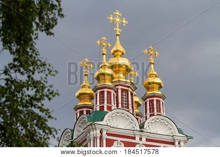 Ensemble of the Novodevichy convent in Moscow, domes closeup, Russia