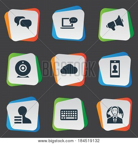 Vector Illustration Set Of Simple User Icons. Elements Profile, Laptop, Overcast And Other Synonyms Speech, Profile And Speaker.
