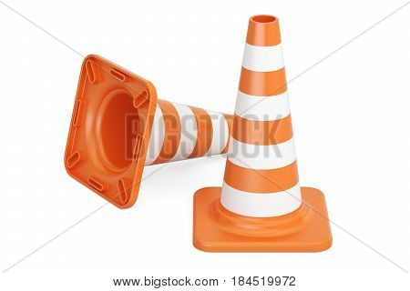 Traffic Cones 3D rendering isolated on white background