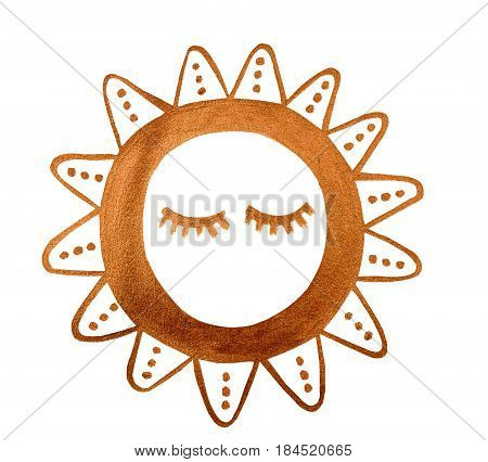 Hand drawn simple golden symbol sun. Ethno style. illustration.painted decorative graphic element.