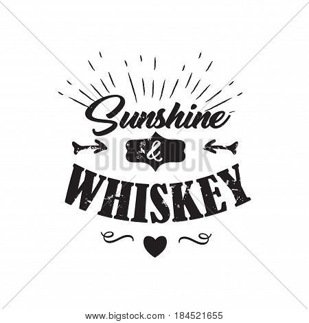 sunshine and whiskey, motto written on white background, frame with stars in vintage americana whiskey label style, vector illustration, design for t-shirt