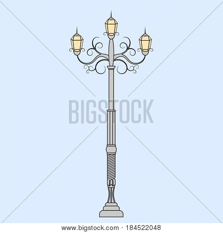 Vintage streetlight. Retro style for your design. Vector illustration.