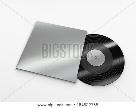 Vinyl record with a case mockup on white background. 3d rendering.