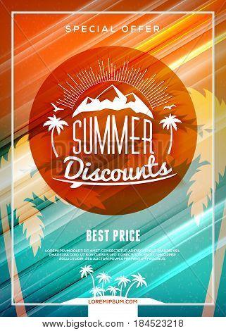 Summer Sale Flyer Or Banner. Summer Discount Label. Typography Retro Style Label. Vector Design Temp