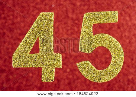 Number forty-five yellow color over a red background. Anniversary. Horizontal