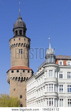 Reichenbacher Turm tower in the historic small town of Goerlitz, Germany