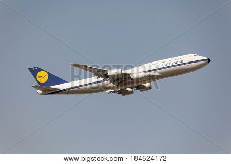 Frankfurt Germany - March 30 2017: Lufthansa airlines Boeing 747-400 after take off at the Frankfurt international airport