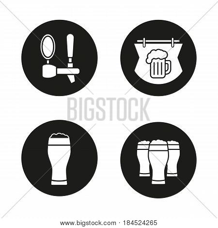 Beer pub icons set. Wooden bar signboard, foamy beer glasses and tap. Vector white silhouettes illustrations in black circles