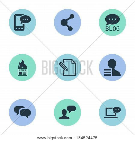 Vector Illustration Set Of Simple User Icons. Elements Site, Laptop, Gazette And Other Synonyms Man, Conversation And Earnings.