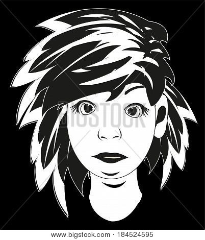 Black white drawing lad with dishevelled hair