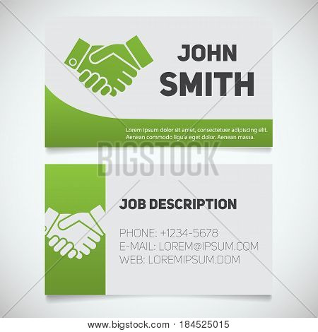 Business card print template with handshake logo. Manager. Negotiator. Stationery design concept. Vector illustration