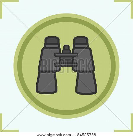 Binoculars color icon. Surveillance equipment. Isolated vector illustration