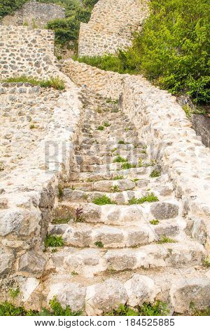 Stone stairs of old abandoned medieval Kalnik fortress ruins in Prigorje, Croatia