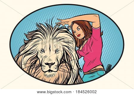 Female stylist hairdresser cuts the mane of a lion. Comic cartoon style pop art vector retro illustration