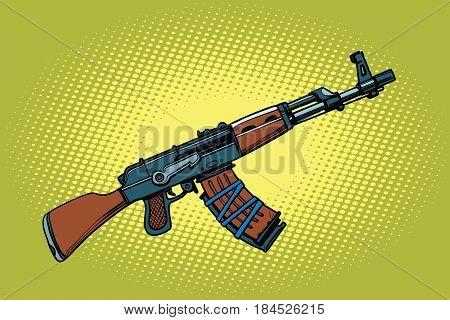 AKM Soviet automatic weapons. Comic cartoon style pop art vector retro illustration