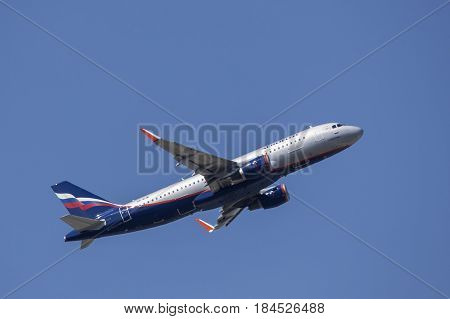 Frankfurt Germany - March 30 2017: Aeroflot russian airlines Airbus A320-214 after take off at the Frankfurt international airport