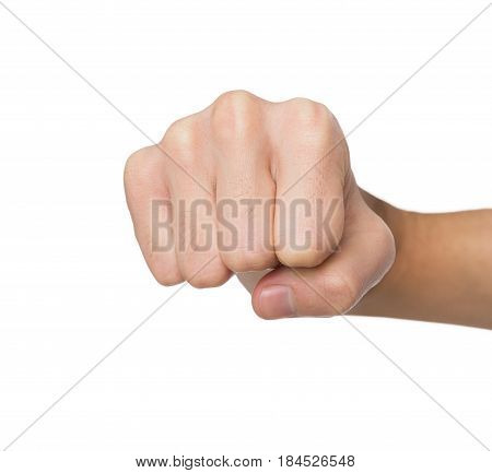 Hand gesture. Man clenched fist, ready to punch, isolated on white, close-up, copy space