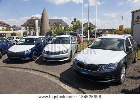 Frankfurt Germany - March 30 2017: New Skoda Fabia and Octavia cars at a dealership in Frankfurt Germany