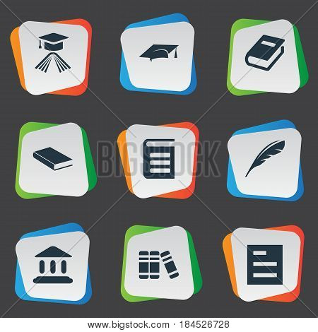 Vector Illustration Set Of Simple Knowledge Icons. Elements Academic Cap, Notebook, Graduation Hat And Other Synonyms Plume, Encyclopedia And Bookshelf.