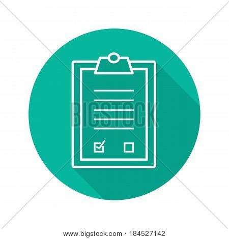 Tests clipboard checklist. Flat linear long shadow icon. Medical clip board. Vector line symbol