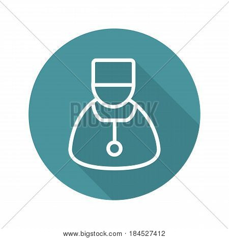 Doctor flat linear long shadow icon. Therapist. Physician. Vector line symbol