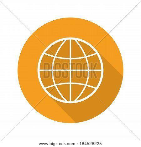 Globe flat linear long shadow icon. Earth spherical model. Vector line symbol