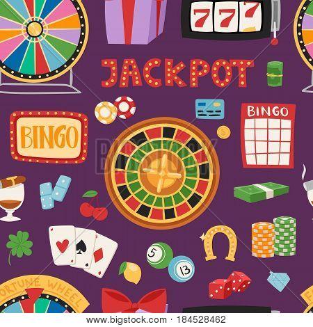 Casino game gambling symbols blackjack cards money winning roulette joker vector seamless pattern.