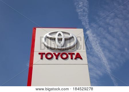 Frankfurt Germany - March 30 2017: Toyota cars dealership in the city of Frankfurt. Toyota is world's leader in sales of hybrid vehicles.